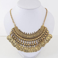 Wholesale Vintage Gold Tassel Necklace - necklaces pendant for Women Vintage exaggerated alloy carved tassel coin Collar necklaces ancient silver coin chokers statement necklaces