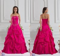 Wholesale Dress Quinceanera Fushia - Fashion Strapless Fushia A-Line Quinceanera Dresses 2015 ZAHY Custom Made Off the Shoulder Ruched Beading Prom Dresses LAN0522