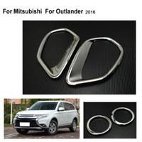 Wholesale Rear Tail Light Covers - Fit For MITSUBISHI For OUTLANDER Chrome Front Rear Fog Light Lamp Cover Fog Light Trim Reflector Garnish Bezel Accessories