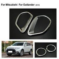 Wholesale Mitsubishi Outlander Front - Fit For MITSUBISHI For OUTLANDER 2016 Chrome Front Rear Fog Light Lamp Cover Fog Light Trim Reflector Garnish Bezel Accessories
