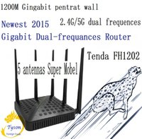 Wholesale Gigabit Dual Band Wireless Router - Tenda FH1202 five 1200M dual band five antennas wireless router through the wall Wang 2.4G 5G Gigabit 11AC wifi switch