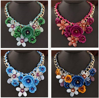 Wholesale transparent tin - Fashion Necklaces Transparent Big Resin Women Necklace Crystal Flower Vintage Choker Statement Necklace Fashion Jewelry