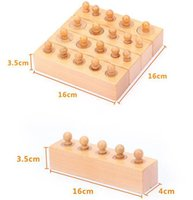 Wholesale Cylinder Toy - Wholesale-Wooden Montessori Cylinder Socket Baby Teaching Math Toy Development Sense Aids Early Childhood Education Building Block Toll