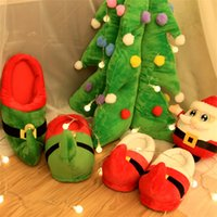 Wholesale Wholesale Suites - 2 Colors Christmas Parent-Child Suite Home Cotton Slippers Fashion Leisure Cotton shoes Unisex Funny Slippers IA998
