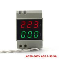 Wholesale Dual Volt Meter - DIN RAIL Dual Led Display AC80-300V AC0.1-99.9A Digital Voltmeter Ammeter Volt Amp Meter Voltage Current Panel Meter