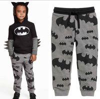 Wholesale Cotton Poplin Fabrics - 2-8T kids Grey Batman Print Leggings Pants trousers Pile fabric cotton 5size sz 100-140 kids TOWEL leggings causual pants