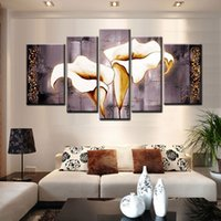 Wholesale calla lily oil painting pictures resale online - Hand paintied canvas oil paintings gray calla lily large pieces canvas art cheap Flower Picture Modern Decorative wall art For Living Room