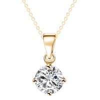 Wholesale simple gold necklace for wedding - Simple Fashion Jewelry Silver and Gold Color Round Shape CZ Cubic Zirconia Pendant Necklace for Women Wedding Jewelry