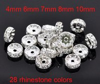 Wholesale Crystal Rondelle For Jewelry Making - Fine Crystal Rhinestone Rondelle Spacer Charm Loose Beads Silver Plated Bulk Beads For Jewelry Making 100pcs Lot 4mm 6mm 7mm 8mm 10mm