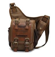 bolsas de lona militar al por mayor-Hombres niños Lona Cuero Hombro Militar Messenger Sling mochilas escolares 3021
