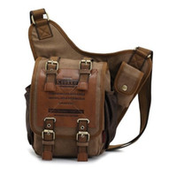 Wholesale Military School Bags - Men's boys Canvas Leather Shoulder Military Messenger Sling school Bags 3021