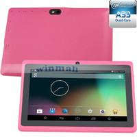 tableta android media q88 al por mayor-Q88 7 pulgadas 1024 * 600 HD Pantalla Tablet PC A33 Quad Core 512MB 8GB 2500mAh gran batería Dual Camera Android MID