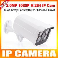 Wholesale Night Vision Bullet Ir Camera - 1080P hd realtime 25fps Network Waterproof Bullet IP Camera 2.0Megapixel Sony Exmor CMOS Sensor H.264 Night Vision ir-cut 4 array LED suppor