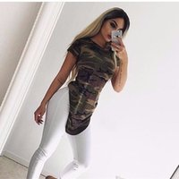 Barato Pano De Festa Da Noite-New Womens Summer Sexy T Shirt Mini Dress Senhoras Camuflagem Casual Night Club Party Bodycon Vestidos curtos Papele Irregular