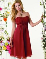 Wholesale Strapless Wedding Dreses - Strapless Knee Length Chiffon Bridesmaid Dresses 2017 Backless Elegant Sleeveless Cheap Formal Dreses Custom Made Wedding Party Dresses