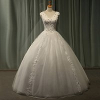 Wholesale Capped Sleeve Lace Gown - 2015 Vintage Lace Wedding Dresses Ball Gowns Formal V-Neck Cap Sleeve Crystal Beaded Open Back Bridal Gown