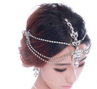Wholesale hair crowns for brides - Rhinestone Forehead Bridal Hair Accessories 2018 Luxury Wedding Hair Jewelry Tiaras Crowns For Brides Bridal Head Pieces In Stock