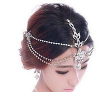 joyería de la tiara de la frente al por mayor-Rhinestone frente nupcial accesorios para el cabello 2018 lujo boda pelo joyas tiaras coronas para novias nupcial cabeza piezas en stock