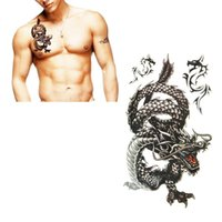 Wholesale Cool Dragon Tattoos - Wholesale- NEW 2016 17.8*10cm Creative design Man black dragon waterproof and sweat Cool tattoo stickers free shipping
