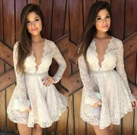 Wholesale Christmas Bandage Dress - Fashion 2015 lace Cocktail Dresses V-Neck Long Sleeves White Lace A-Line Short Mini short party dresses prom dresses Christmas 2015