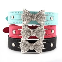 Wholesale Dog Collar Leather Harness - Factory Price! Dog Collar Bling Crystal Bow Leather Pet Collar Puppy Choker Necklace XS S M