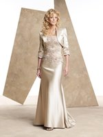 Wholesale Modest Strapless Prom - Modest Champagne Gold Mother Of The Bride Dresses Evening Wear With 3 4 Sleeves Jacket Appliques Plus Size Janique Formal Prom Gowns