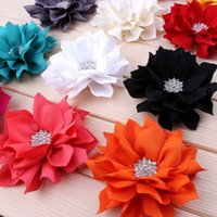 120pcs / Lot 3 .6 '13colors Artificial Lotus Leaf Flowers With Rhinestone Button For Fashion Hair Accessories Flores de tecido para Headbands