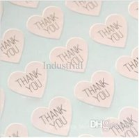 Wholesale Stickers For Wedding - Wholesale-THANK YOU heart design Sticker Labels Seals.3.8cm, Gift stickers for Wedding seals,300pcs lot (SS-7132)