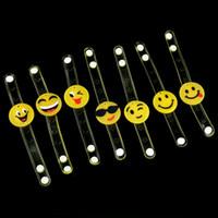 Wholesale C9 Christmas Lights Wholesale - Led Cartoon Light Up Emoji Wristband Led Flashing Smile Face Bracelet Bangle For Party Bar Halloween Christmas Gift Accessories Q0206