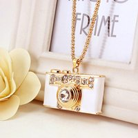 Wholesale Small Camera Necklaces - Necklace small gift, gift hang button, fashion lovely creative camera necklace, sweater chain