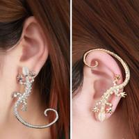 Wholesale Luxury Ear Cuffs - 2016 1 pc Rhinestone Ear Cuff Earrings Luxury Gecko Stud Earrings T-east