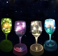 Wholesale Goblet Lamp - Wholesale- Romantic Goblet Table Lamp Mini Landscape DIY USB Rechargeable Colorful Night Light Cup Decoration Night Light Glass Lamp