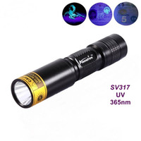 Wholesale Uv Aa - ALONEFIRE SV317 365nm Mini rechargeable UV ultraviolet light detector lamp flashlight For 1 * AA   14500 battery