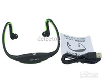 Wholesale mp3 player memory slot online - 2017 New Fanshion Sports Gym Running headset Wireless MP3 player with TF Memory card Slot Wrap Around Headphones players earphones FM Radio