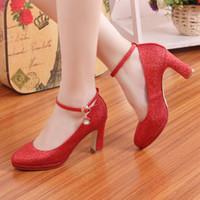 Wholesale Platform Heels Formal - 2015 Elegant High Heels Formal Party Solid Gliter Thick Pumps Shoes New Fashion Platform Wedding Shoes chaussure femme