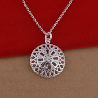 Wholesale Disc Sterling Silver - 925 sterling silver necklace Korean version of the popular disc hollow necklace jewelry wholesale trade large spot