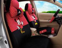 Wholesale Cartoon Car Set Covers - 18pcs 2015 new women love Mickey Mouse cartoon car seat cover plush seat covers