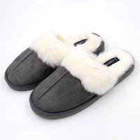 Wholesale leather fur trim - Millffy Nordic Faux Trim rabbit fur slippers womens shoes faux fur slippers Memory foam slippers eva slipper womens suede shoe