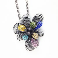 Wholesale Bohemian Style Clothing For Women - Fashion National Retro Style Alloy Pendant Necklace Vintage Flower Sweater Necklace Bohemian Pendant Accessories for Women Clothing