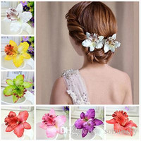 Wholesale Bridal Hairpin Red - Women Girl Bohemia Bridal Flower Orchid Leopard Hair Clip Hairpins Barrette Wedding Decoration Hair Accessories Beach Hairwear