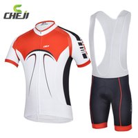 Wholesale Road Cycling Set Clothing - Cheji 2015 White Red Road Bicycle Bike Cycling Jersey Sets Men Sports T-shirts Gel Padded Bib Shorts Clothing Suit