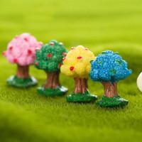 Wholesale Cabochon Resin Tree - 2Pcs Mini 4 Colors Apple Tree Resin Cabochon Resine Craft Miniatures Garden Decor Terrarium Figurines Supplies Micro Landscape