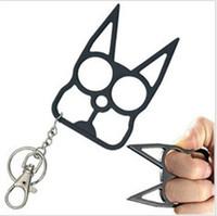 Wholesale Key Holder Bag For Men - New Self Defense Kitty Cat Novelty Keychain 2016 New Designer Car Key Pendants U Shape Metal Chains for Key Bag Car 100pcs by DHL NAR041
