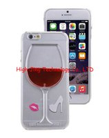 Wholesale Exclusive Cover - Exclusive 3D Red Wine Cup Liquid Transparent Case Cover For Apple iPhone5 6 6plus galaxy s5 note4 flowing wine Back Covers