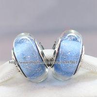 perlas de color de fluorescencia al por mayor-925 Sterling Silver Lampwork Cinderella's Signature Color Fluorescence Murano Glass Charm Beads Fit European Style Jewelry Pulseras