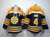 Wholesale Cheap Boys Pullover Hoodies - Youth Bruins 4 Bobby Orr Kids Black Hoodies Jerseys 2014 New Arrival Childrens Lace Up Pullover Ice Hockey Sweaters Cheap Outdoor Sportswear