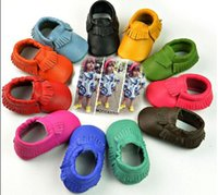 Wholesale Low Price Toddler Shoes - Lowest price!Retail ! Baby moccasins soft sole moccs genuine leather prewalker booties toddlers babies infants fringe Genuine leather shoes