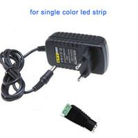 led ışık şerit konektörü 12v dc toptan satış-DC 12 V 2A LED Trafo Güç Kaynağı Adaptörü + Kadın Bağlayıcı SMD 3528 5050 LED Flex Şerit Bar Işıkları için Giriş 110 V 220 V 230 V 240 V DHL