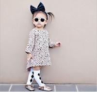 Wholesale Leopard Dress T Length - Baby Girl Leopard T shirt Dress 2016 Autumn New Hot Sale Children Loose Dresses European&American Style Girls Cotton Long T-shirt Kids Dress