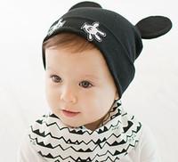Wholesale Little Girls Knitted Hats - Baby Cartoon Little Hand Double Ear Beanies Cotton Hats Children Kids Spring Autumn Knitted Cap Skullcap MZ2777